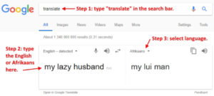 Google translate from English to Afrikaans