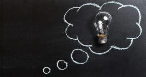 Lightbulb in chalk speech bubble
